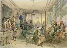 Καφενείο στην Κωνσταντινούπολη, 1854 (Πίνακας του Amadeo Preziosi).